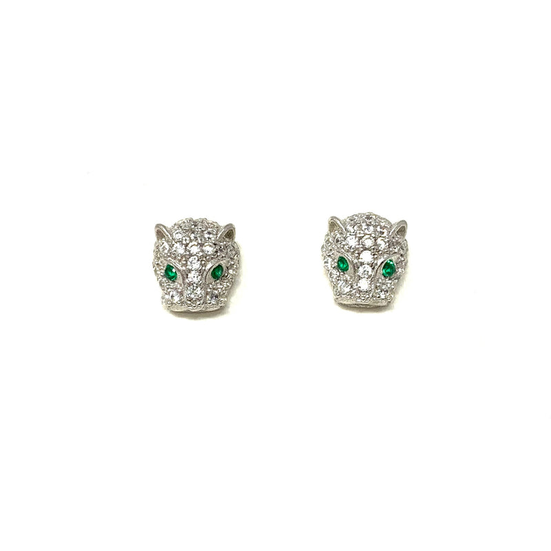 Mini Jaguar Studs with Emerald Green Eyes in Silver