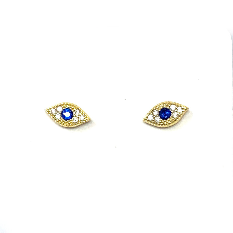 Mini Pave Evil Eye Studs in Gold