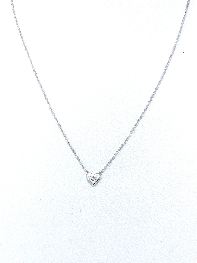 Silver Mini Heart with Single Stone