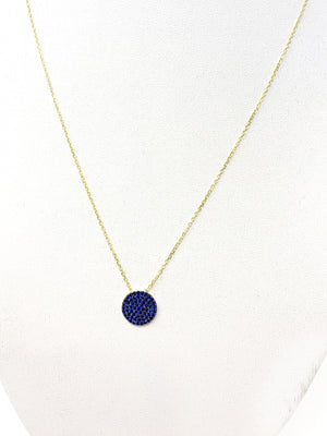 Sapphire Blue Pave Circle Necklace in Gold