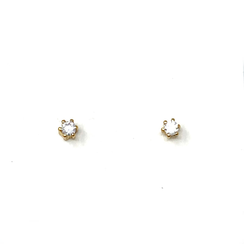 Mini Stones Studs in 6 Prong Gold