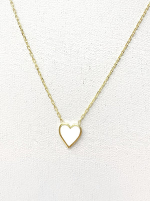 White Enamel Heart Necklace in Gold