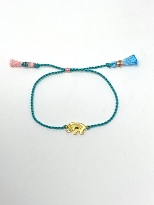 Mini Mojo Elephant with Evil Eye in Turquoise