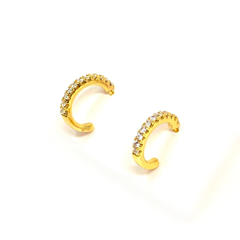 Cosette Mini Pave Hoops in Gold