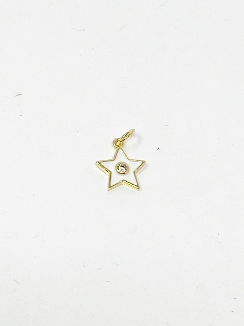 Charming White Enamel Star with CZ Stud Charm in Gold