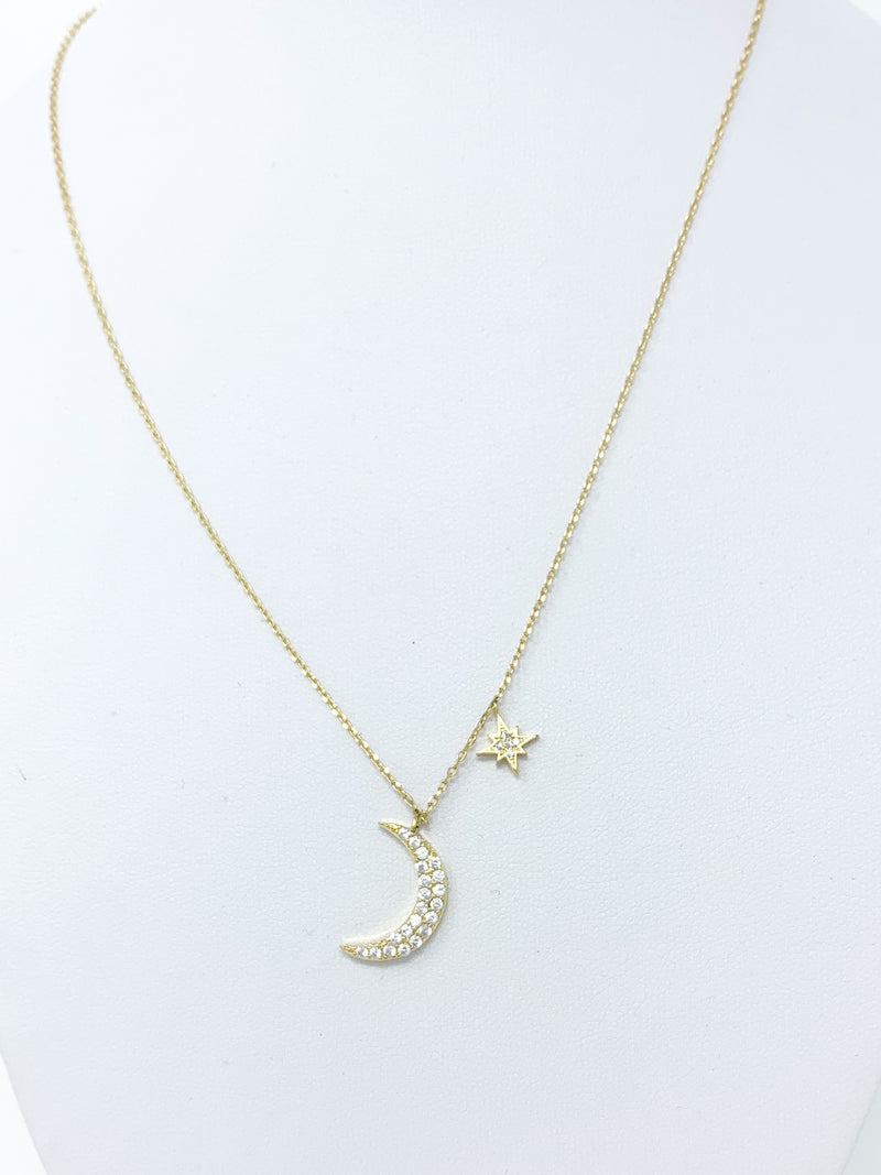 Sale! Crescent Moon and Star Necklace in Gold