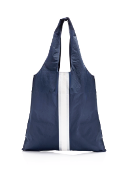 Navy Carryall Tote with a White and Metallic Line