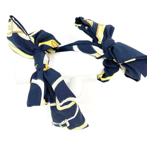 Printed Bow Scarf Scrunchie in Navy
