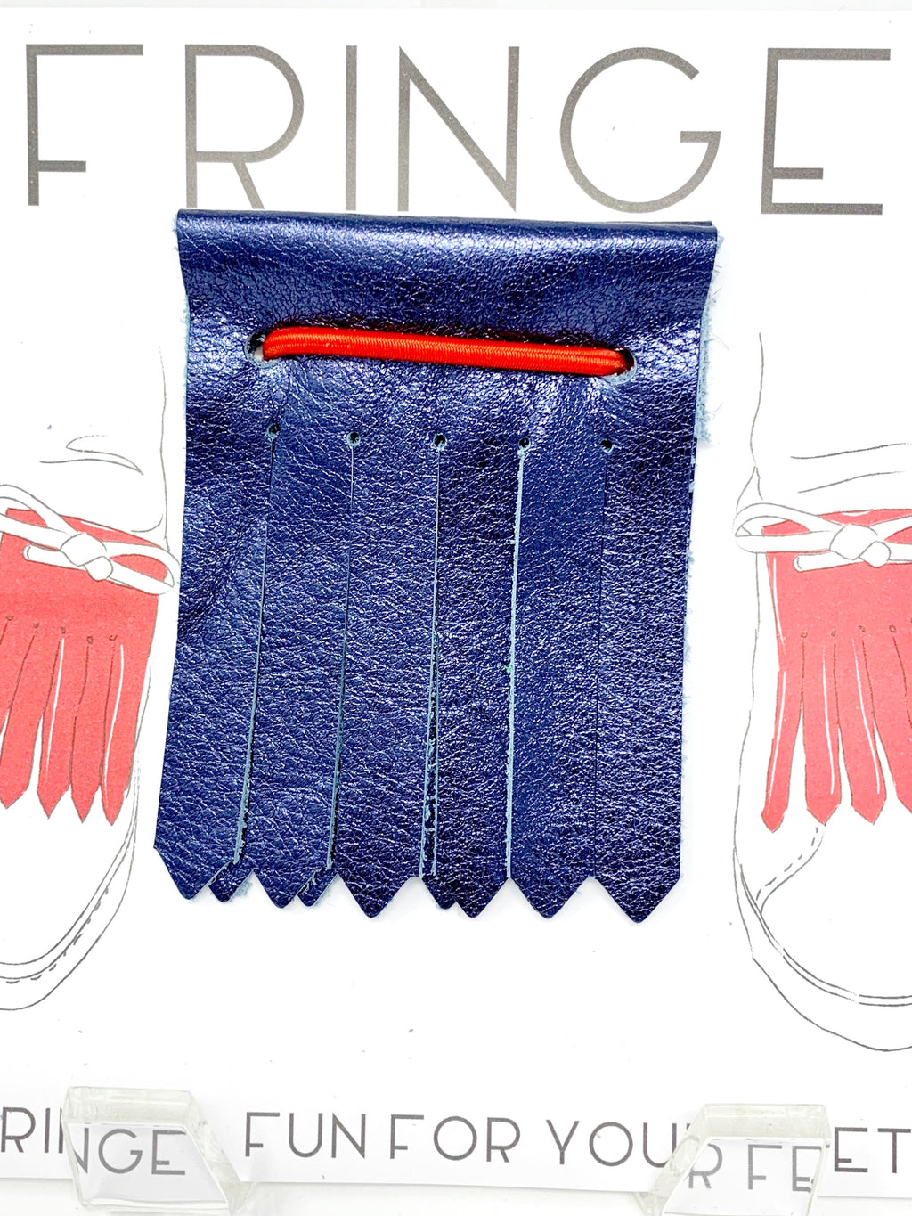 Shoe Fringe Short in Navy Metallic Leather