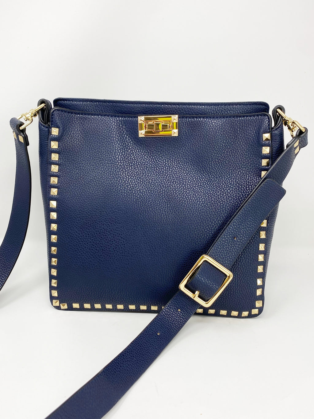 Large Studded Crossbody Bag in Navy
