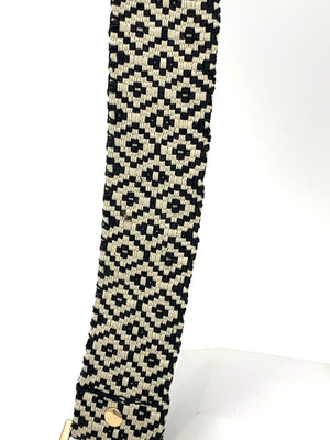 Needlepoint Narrow Strap in Black