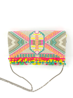 Impala Aztec Beaded Clutch