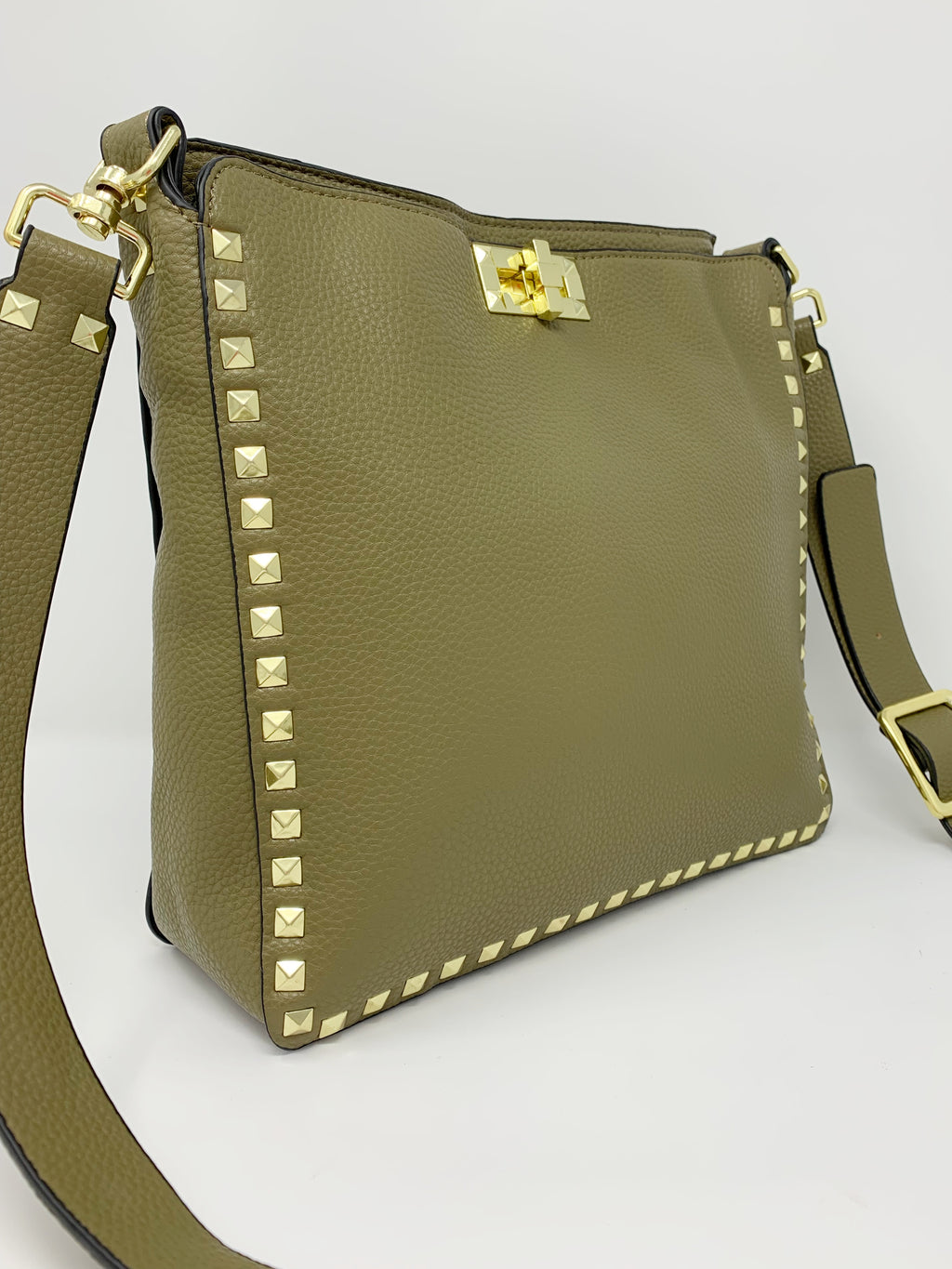 Large Studded Crossbody Bag in Olive