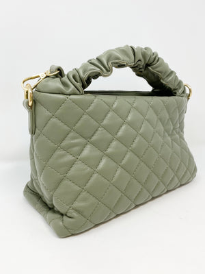 Quilted Bag with Scrunched Handle in Olive