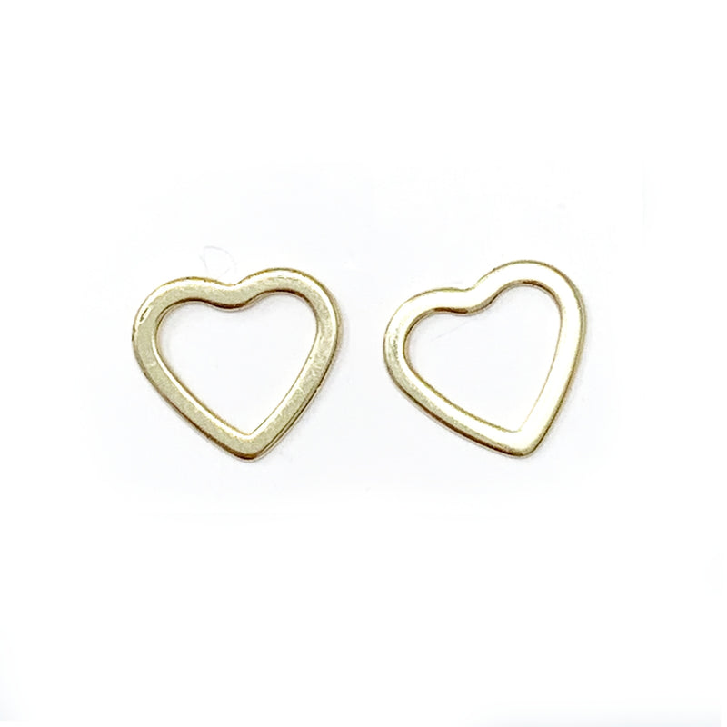 Open Heart Studs in Gold