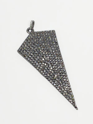 Charming Pave Oversized Shield Charm in Gunmetal