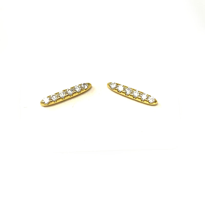 Pave Rounded Bar Studs in Gold