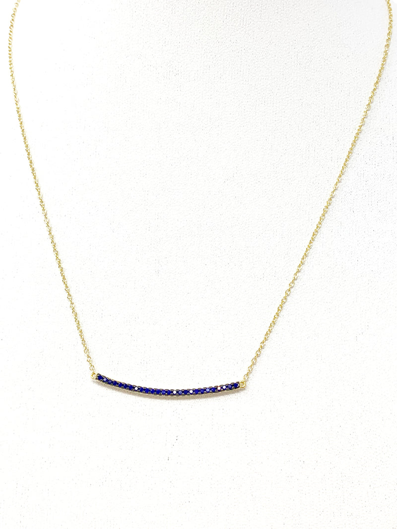 Curved Pave Sapphire Blue Bar Necklace in Gold