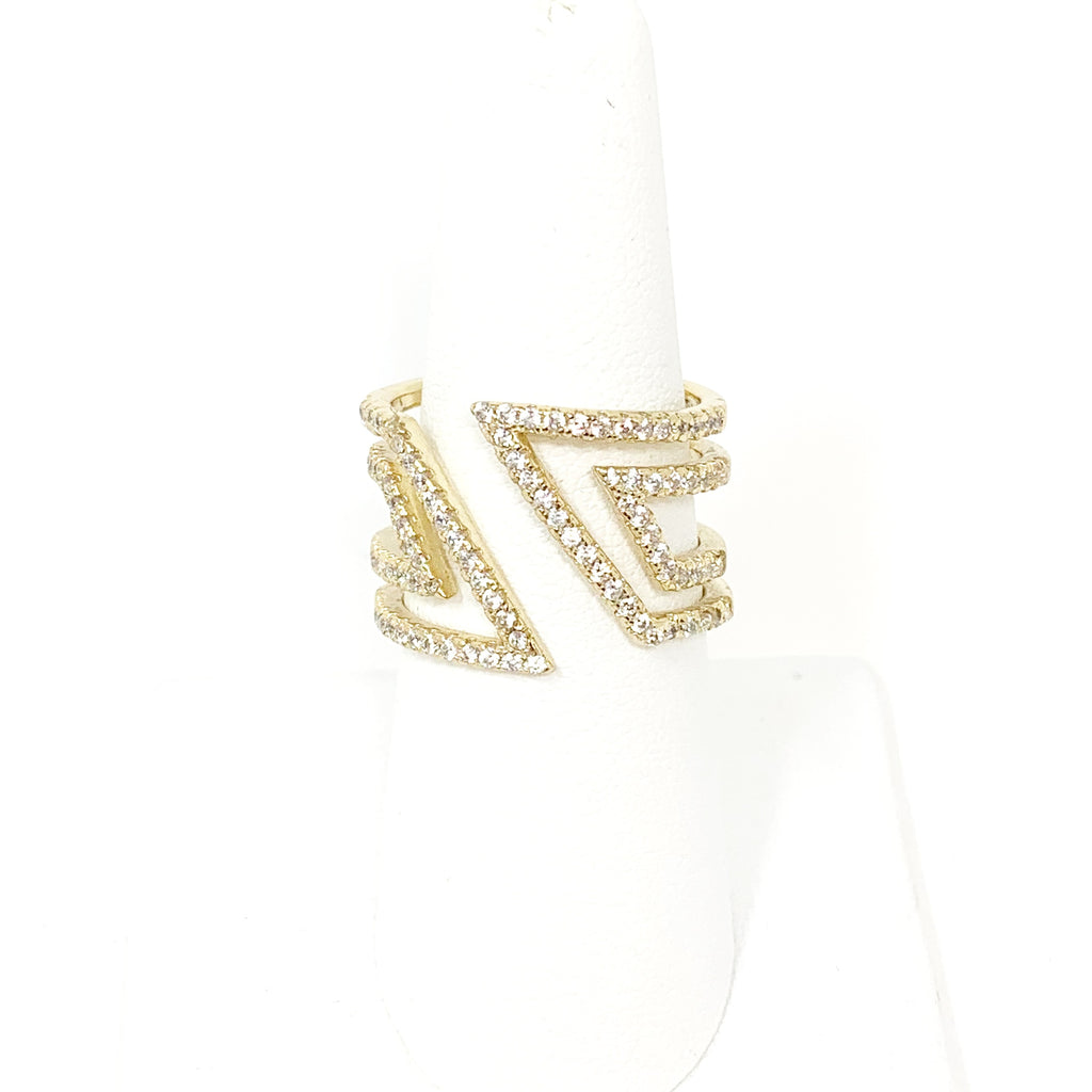 Deco Pave Ring in Gold