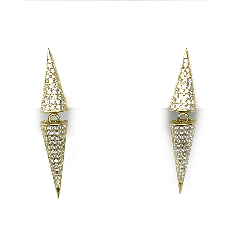 Pave Double Spike Earrings