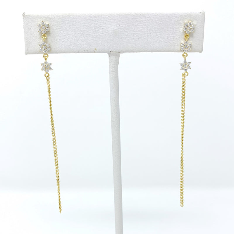 Pave Mini Flowers with Drop Chain Earrings
