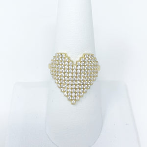 Pave Heart Ring in Gold