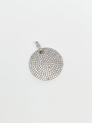 Charming Smaller Pave Circle Charm in Silver