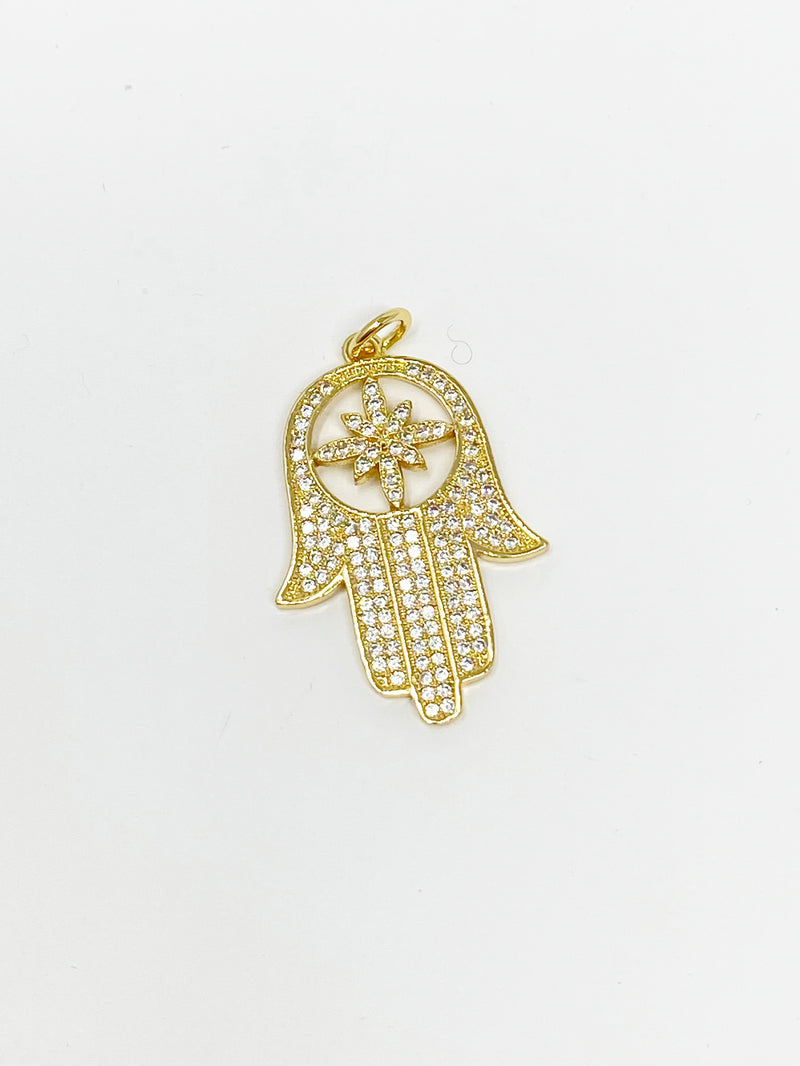 Charming Pave Hamsa Charm in Gold