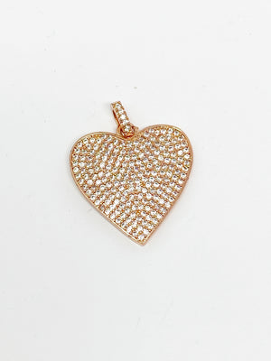 Charming Bigger Pave Heart Charm in Rose Gold