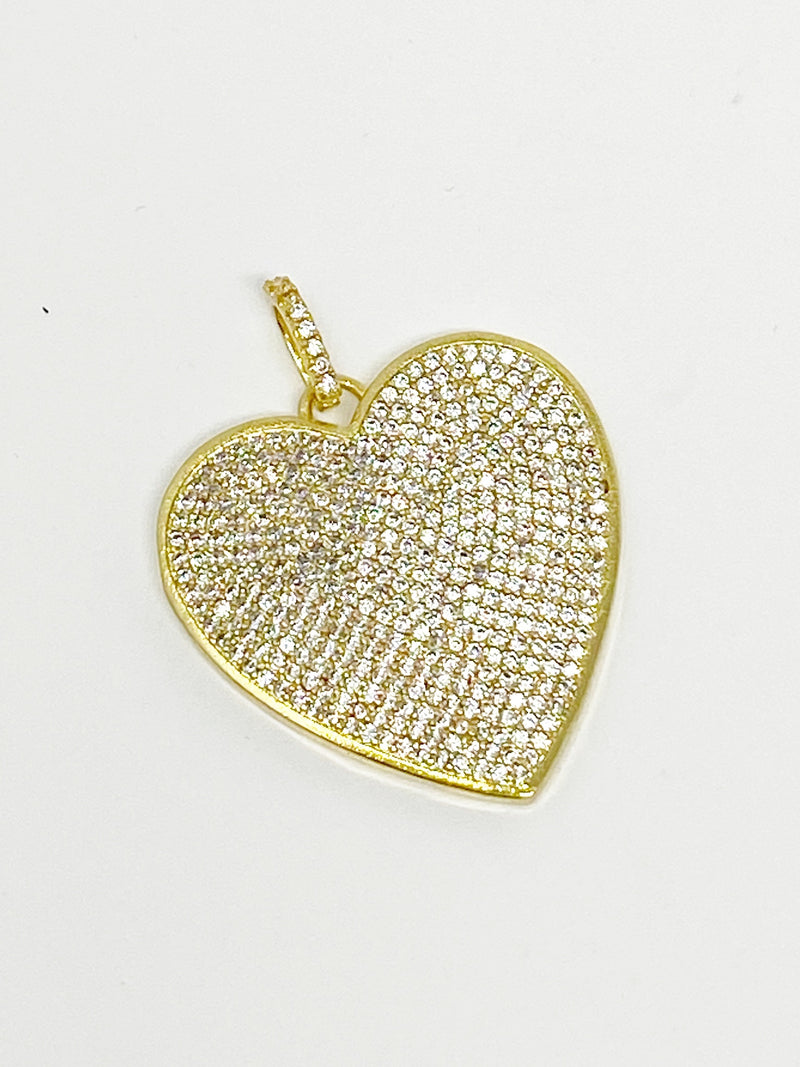 Charming Oversized Pave Heart Charm in Gold