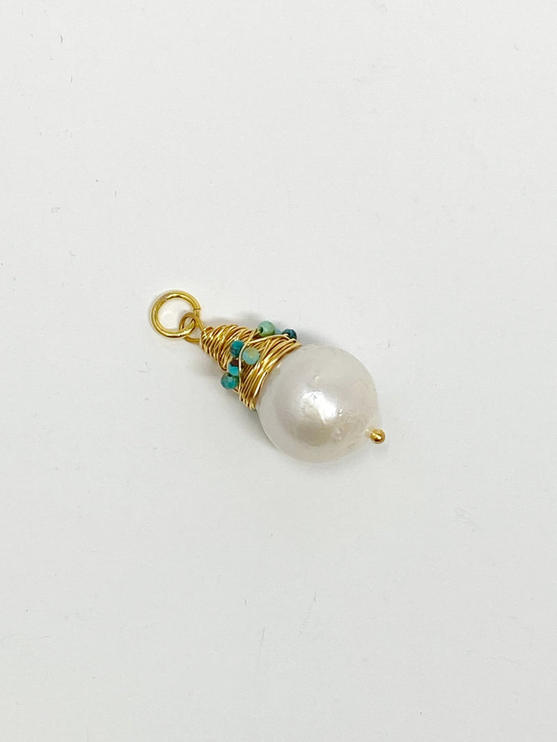 Charming Pearl Charm with Wrapped Gold and Turquoise Setting