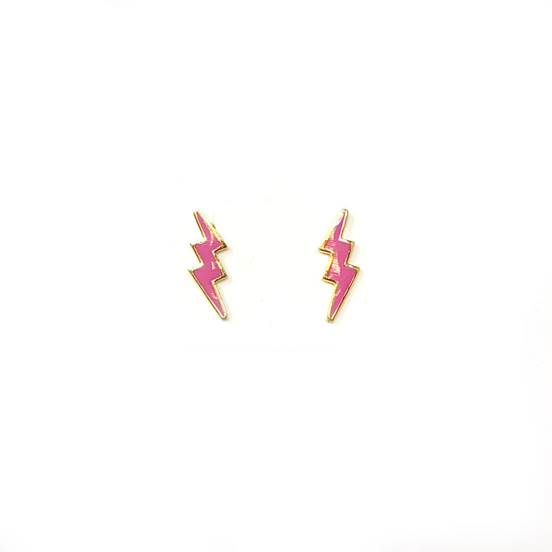 Bolt Studs in Gold with Pink Enamel