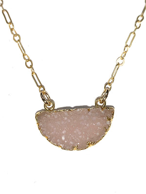 Half Moon Druzy Necklace in Pink