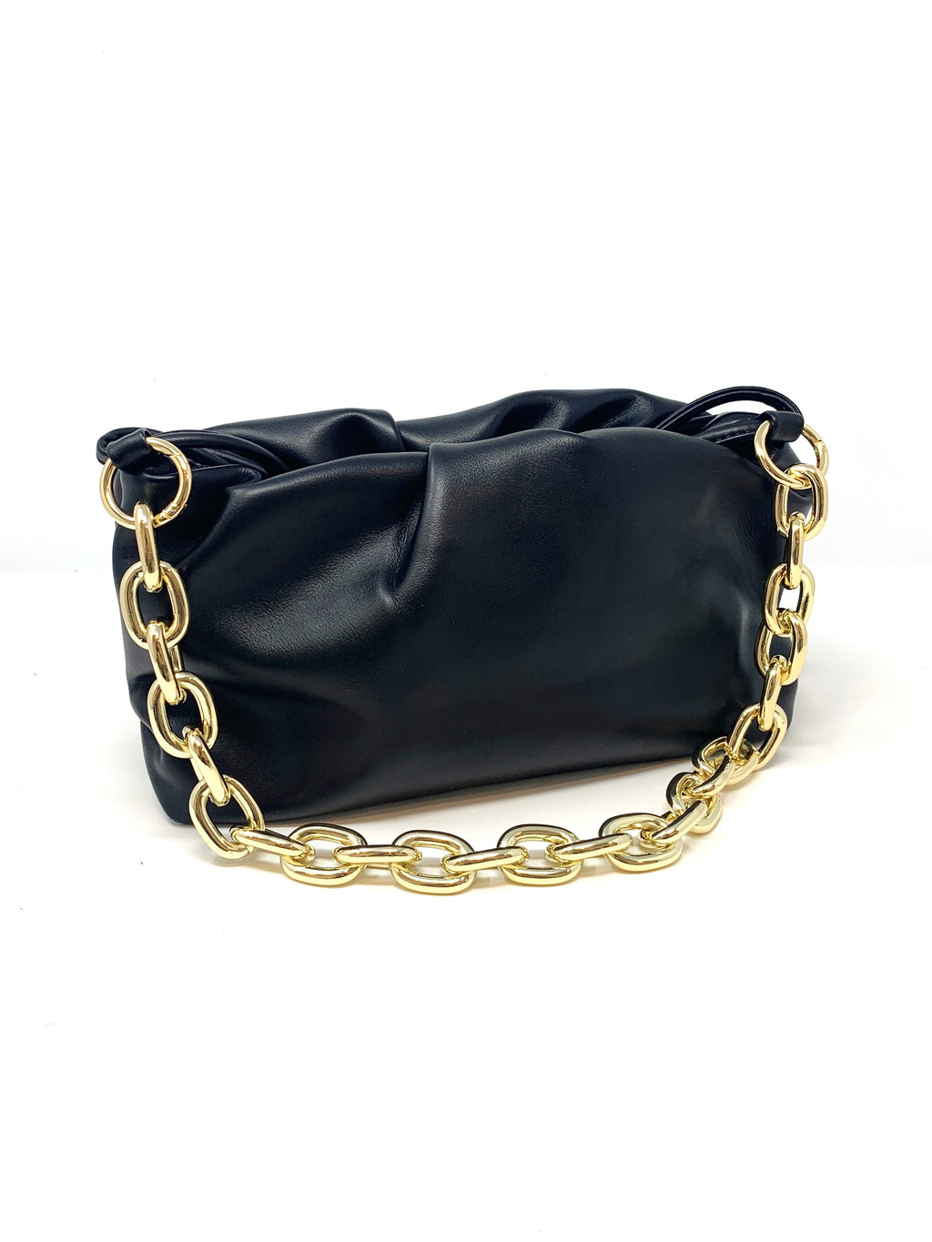 Pouch Bag with Chunky Chain and Crossbody Strap in Black