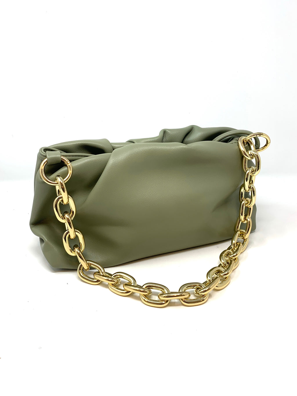 Pouch Bag with Chunky Chain and Crossbody Strap in Soft Olive Green