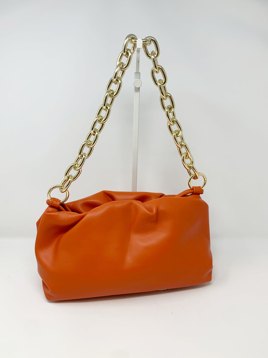 Pouch Bag with Chunky Chain and Crossbody Strap in Blaze Orange