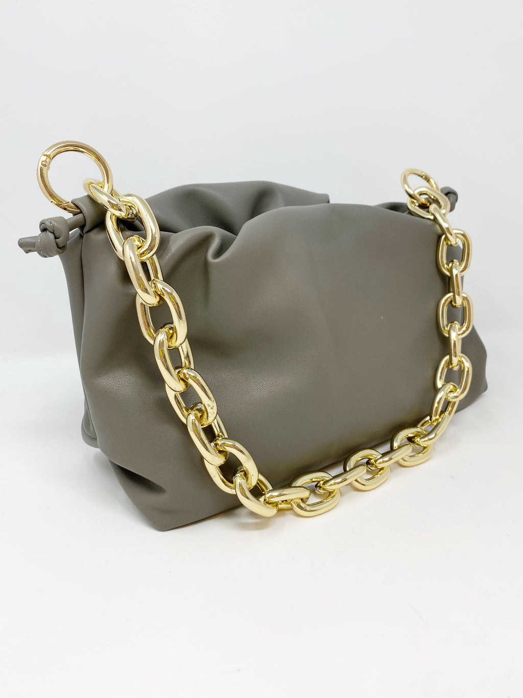 Pouch Bag with Chunky Chain and Crossbody Strap in Grey