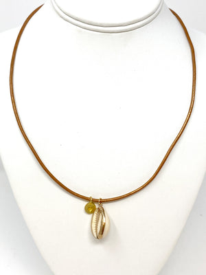 Puka and Heart Necklace on Tan Leather