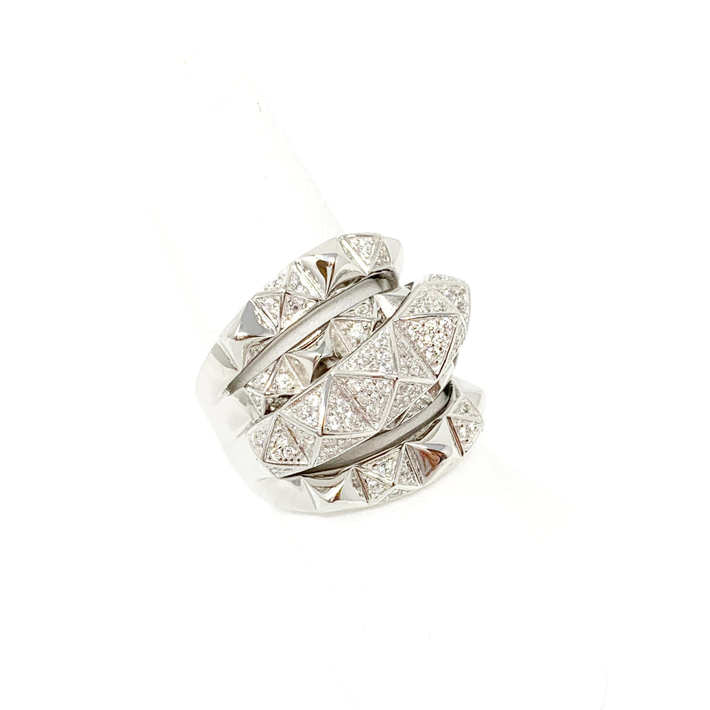 Stack of Pyramids Ring in Silver with Pave Stones