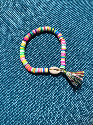 Rainbow Puka Shell with Tassel