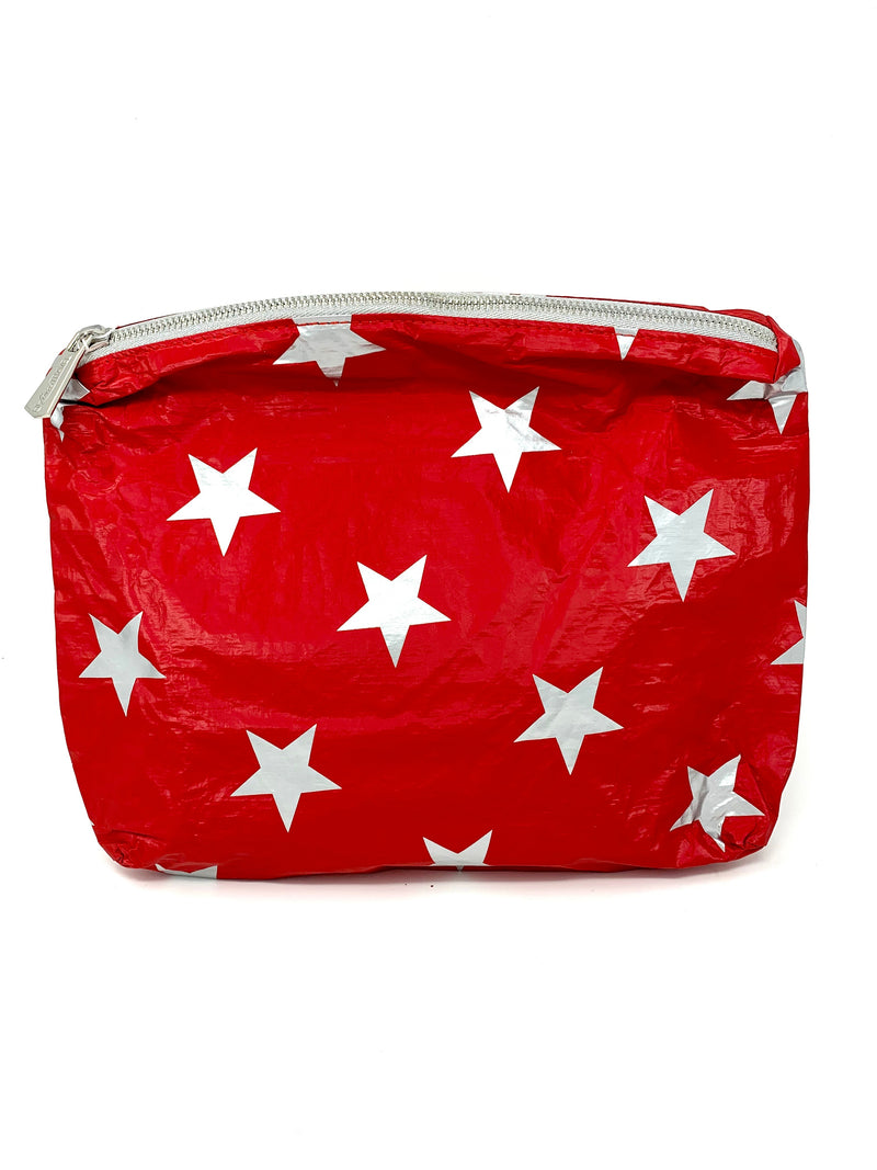 Hi Love Travel Red Medium Pouch with Stars