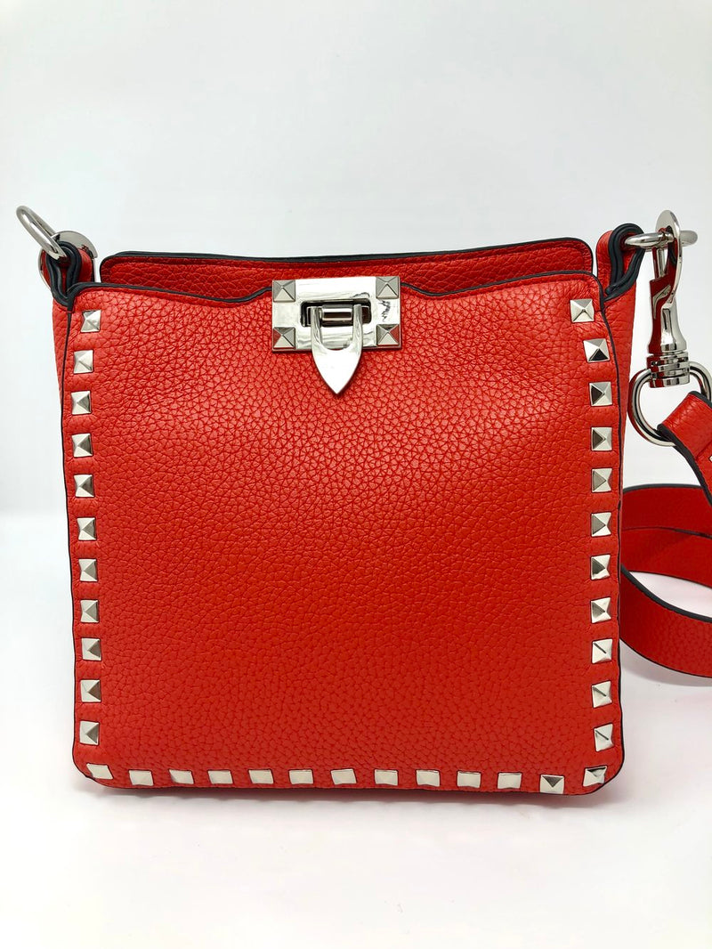 Small Studded Crossbody Bag in Red