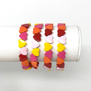 Heart Shaped Tile Bracelet in Reds