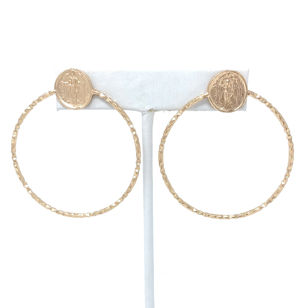 SALE! Angel Coin Hoops in Rose Gold
