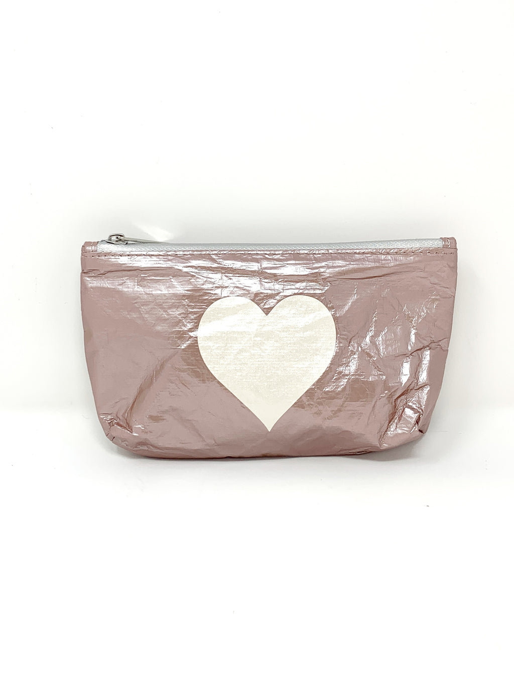 Hi Love Travel Rose Gold Small Pouch with White Heart