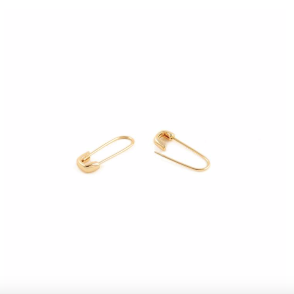 KN Safety Pin Hoops in Gold