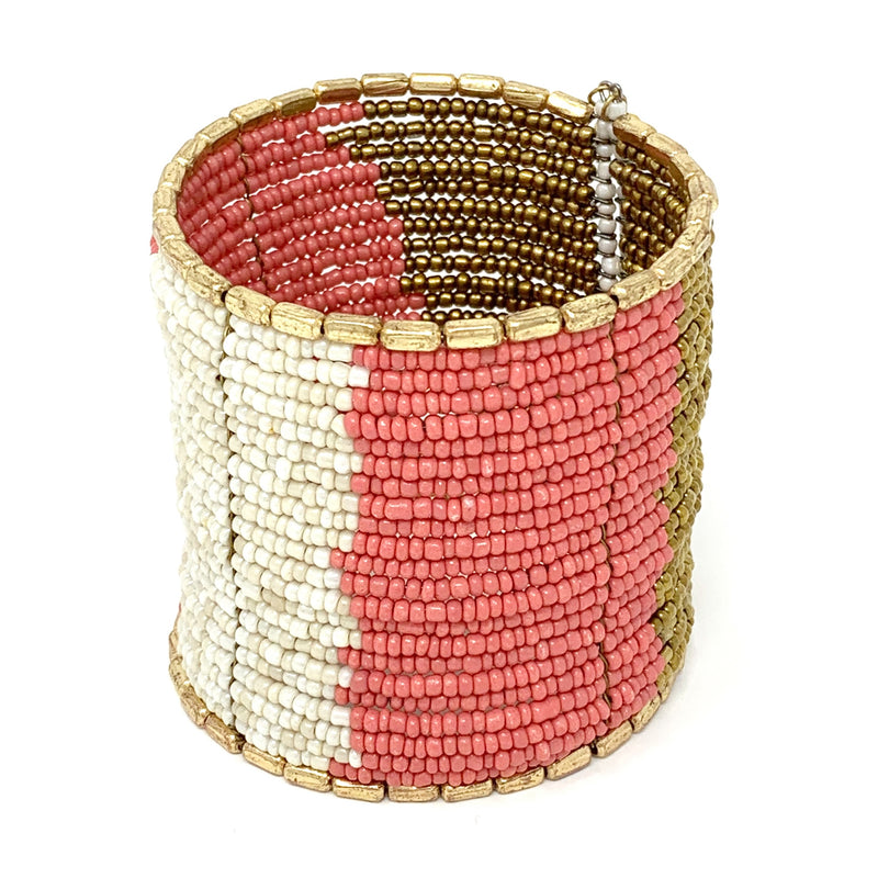 Aloha Beaded Cuff in Coral and White