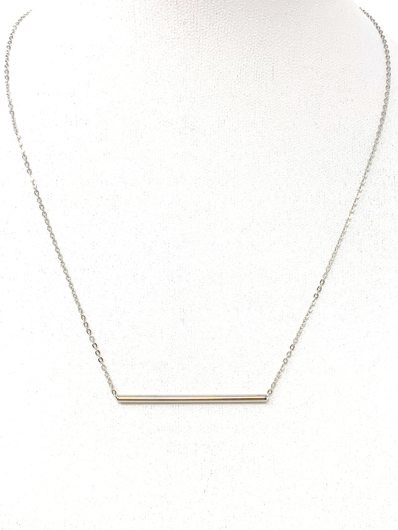 Solid Bar Necklace in Silver