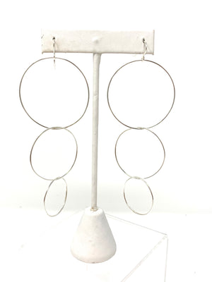 Triple Hoop Earrings in Silver