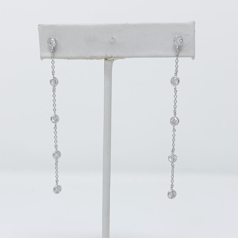 Diamond Chain Drop Earrings in Silver